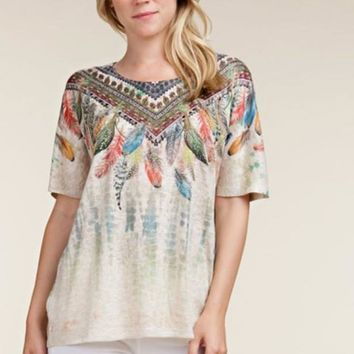 Vocal Sand Wash Feathers Rhinestones Top - Taupe