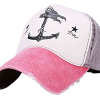 Girls Canvas Snapback Hip-Hop Hat Flat Peaked Adjustable Baseball Cap Red & Brown