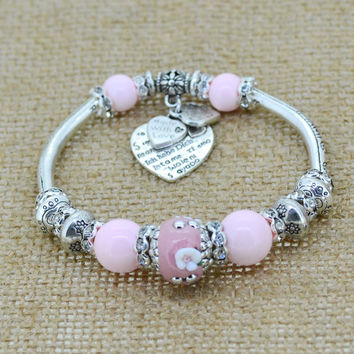 silver love heart charm bracelet bangles glass beads strand bracelets  fashion jewelry for women 2014