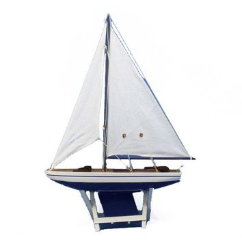 "Wooden It Floats 21"" - Blue Floating Sailboat Model"
