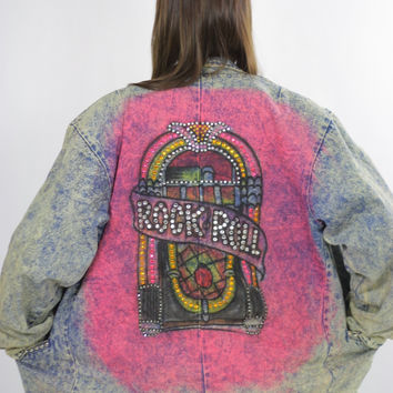 80s acid wash denim jacket tie dye Jukebox Studded Rock N Roll