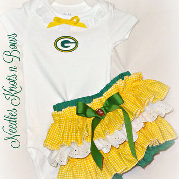 Girls Green Bay Packers Cheerleader Outfit, Baby Girls Coming Home Outfit, Girls Football Outfit, Girls Baby Shower Gift