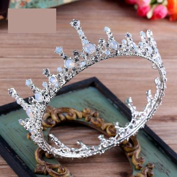 Cool Wedding Hair Accessories Jewelry Baroque Big Full Round Bridal White Rhinestone King Queen Crown Prom Pageant Bride Tiara CrownsAT_93_12