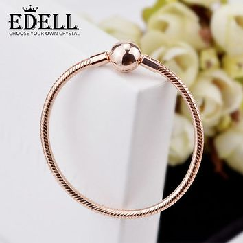 EDELL New Real 925 Sterling Silver Rose Gold Charm Bracelets For Women Fashion Heart Bracelet Wedding Party Jewelry Girls Gift
