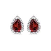 14K White Gold Pear Garnet and Diamond Earrings (1 1/2ct tgw)