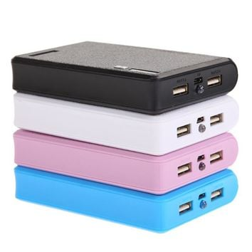 1PCS Rechargeable Dual USB Power Bank Box DC 5V-1A/2A 4 x 18650 Battery Power Supply Powerbank Box For Smartphone Travel