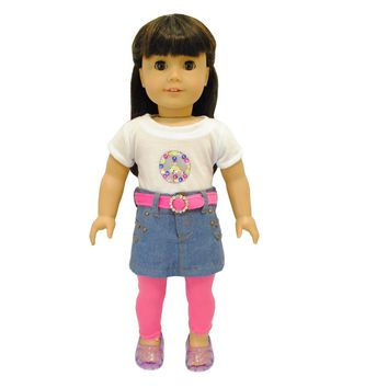 "Doll Clothes Fits American Girl 18"" Leggings Skirt Shirt Outfit Dress"