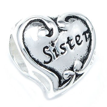 Queenberry Sterling Silver Sister Love Heart Family Bead For European Charm Bracelets