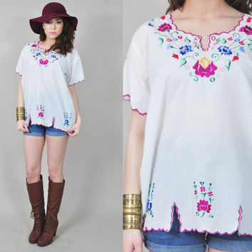 VINTAGE 70s sheer white mexican oaxacan floral embroidered peasant hippie boho blouse top