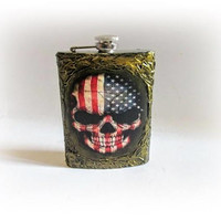 Skull Hip Flask American Flag Groomsmen Flask Stainless Steel Bronze Flask 9 oz Best Man Flask Mens Gift Birthday Gift