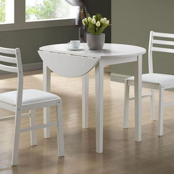 "3 pc set white finish wood dining set with a 36""dia drop leaf table"