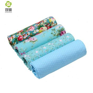 Printed Blue Flower Pattern Twill Cotton Fabric Patchwork Tissue Cloth Of Handmade DIY Quilting Sewing Textile Material 160*50cm