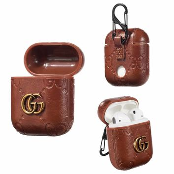 GUCCI PENDANT EMBOSS AIRPODS CASE - LIGHT BROWN