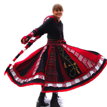 Elf Coat, Upcycled, Recycled Sweaters, Black, White, Red, Satin lining, Skeleton key, Velvet lined hood