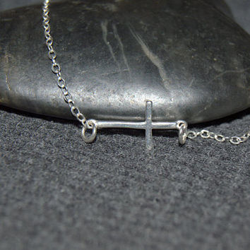 sterling silver horizontal cross necklace, minimalist necklace, silver cross necklace, religious jewelry, catholic gift, christian jewelry