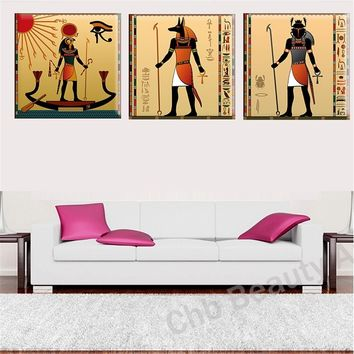 3 Panels Egyptian Home Decor Canvas Art Painting Modern Abstract Oil Painting Wall Pictures for Living Room Pictures Art