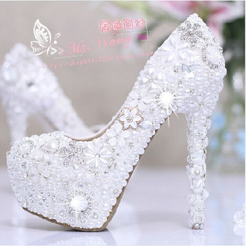12CM Heels Women's Fashion Snow White Pearl White Shoes Diamond Manual Wedding Shoes Flowers Waterproof Shoes = 1932750340