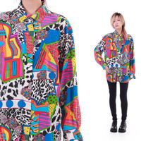 80s Silk Button Down Blouse Colorful Abstract 90s Hip Hop Hipster Swag Shirt Vintage ClothingSize Medium Large