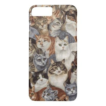 Vintage Whimsical Cat Pattern iPhone 7 Plus Case