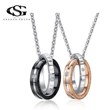 GS Couple Necklace Stainless Steel ETERNAL LOVE Lettering Name Logo Double Circle Pendant Necklaces For Lovers Collares Mujer