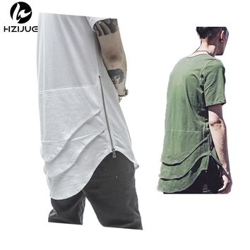 Side Zipper Extended Man Mens Hip Hop Hiphop Swag Long Casual T Shirt Top Tees Justin Bieber Style Clothes Clothing KANYE