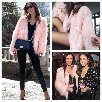 Furry Fluffy Fur Warm Coat Winter Outerwear