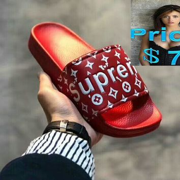 2018 Cheap Priced Authentic Supreme Hip Hop Sandals Leadcat pure-red shoes
