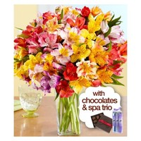 100 Blooms of Peruvian Lilies with Square Glass Vase , Chocolates & Spa Trio