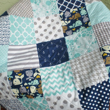 Nautical Baby quilt,grey,navy,teal,aqua,Baby boy bedding,baby boy quilt,anchors,whale,chevron,ropes,toddler,crib quilt,modern,Whale Watching