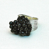 Black Spinel Cluster Ring...