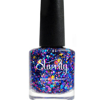 GALAXY Custom Hand Made Designer Unique Glitter Nail Polish - Lacquer - Indie Nail Polish - Varnish