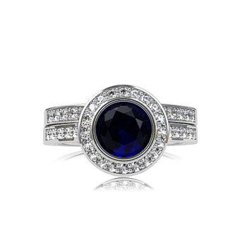 Blue sapphire halo engagement ring set, diamond halo ring, half eternity band, diamond wedding ring, blue engagement, white gold, wedding