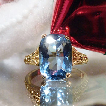 Antique Blue Topaz Ring Uncas Art Deco Ring Sterling Vermeil Topaz Emerald Cut 9.50 CT Blue Topaz Solitaire Gemstone Gem  Vintage Estate