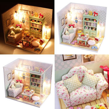 2016 Hot Sale DIY Wood Dollhouse Sofa Miniature With LED Furniture Cover Doll House Toys For Children Gift