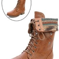 Wild Diva Women Jetta-25F Lace Up Combat Military Boots With Foldable Cuff, Whisky, 6.5