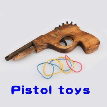 PEAPIX3 Cool Gifts Wooden Light Single Tube Hand Rubber Band Gun Rifle Pistol Shooter Classic Toy