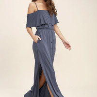 Life's Wonders Denim Blue Off-the-Shoulder Maxi Dress