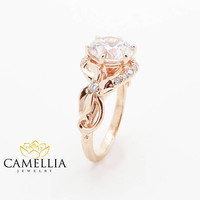 Round Cut Diamond Engagement Ring Unique Flower Ring 14K Rose Gold Engagement Ring Nature Rings
