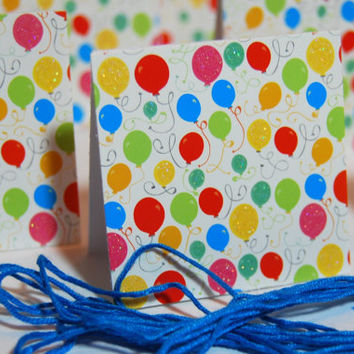 9 Happy Birthday Gift Tags - Party Balloons Handmade Tag - 2 in x 2 in with matching Blue Thread, use as a gift Tag, party favor Tag