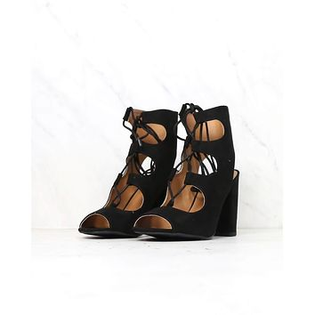 suede lace-up heel sandal - black
