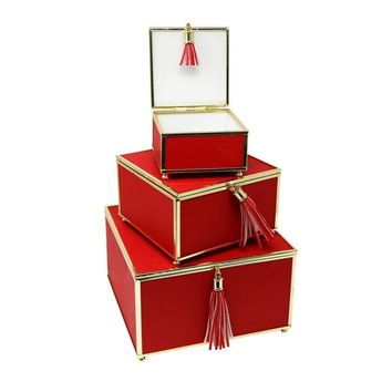 Impressive Red Set Of 3 Storage Boxes With Tassel -Sagebrook Home
