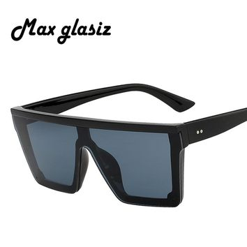 Max glasiz 2018 Square Sunglasses Women Large Square Sunglasses Men Black Frame Vintage Retro Sun Glasses Female Male UV400
