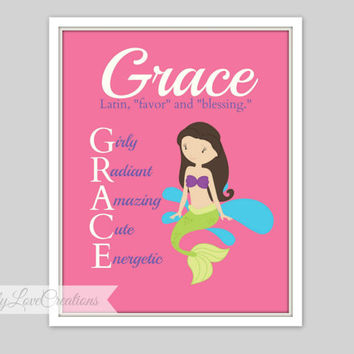 Mermaid Print, Mermaid Wall Art, Personalized Name Meaning Print, Girls Room, Princess Nursery, Girls Playroom