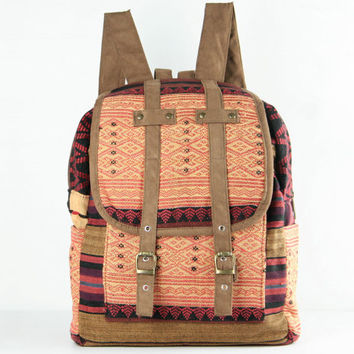 Tribal Velvet Rucksack/ Backpack Native Ethnic Textile For Women/ Men