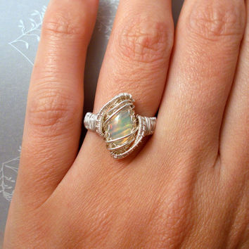 Ethiopian Opal Marquise Silver Ring, Sterling Silver Wire Wrapped Ring