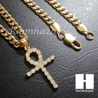 Iced Out 316L Stainless steel Gold Egyt Ankh Cross 5mm Cuban Chain SG015
