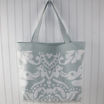 Aqua and White Modern Floral Print Beach Bag, Large Tote Bag, Farmers Market Bag, Reusable Grocery Bag, MK122