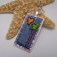 Embroidered Palm Tree Sunny Heart Necklace