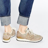 New Balance 996 Stone Vintage Leather & Mesh Trainers