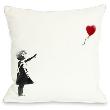 """There Is Always Hope Graffiti"" Indoor Throw Pillow by Banksy, 16""x16"""